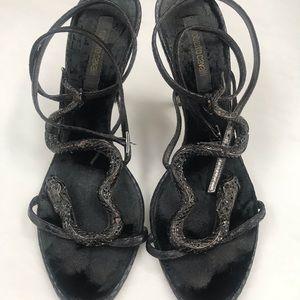 Roberto cavalier swarovski snake black heel